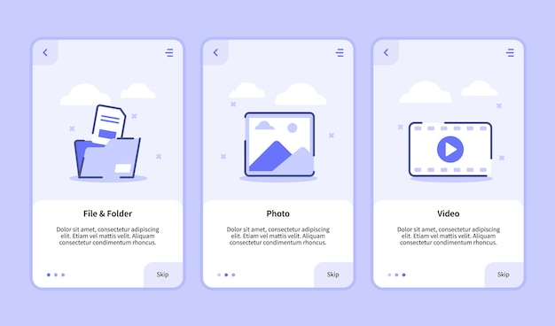 File and folder photo video onboarding screen for mobile apps template banner page ui