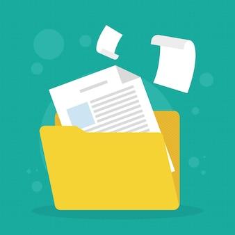 Файловая папка с документами вокруг