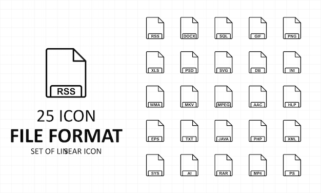File format icon sheet pixel perfect icons