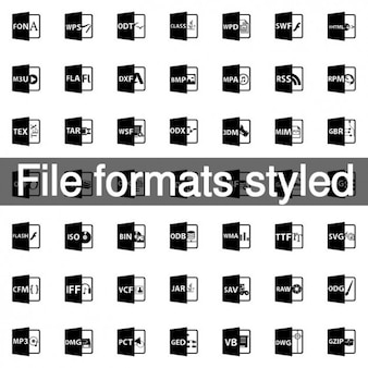 File formats styled icon pack