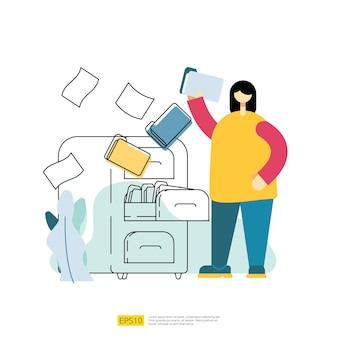 파일 관리는 사람들이 만화 캐릭터로 벡터 일러스트레이션을 보관하고 구성합니다. 플랫 스타일의 문서 및 파일 개념 작업