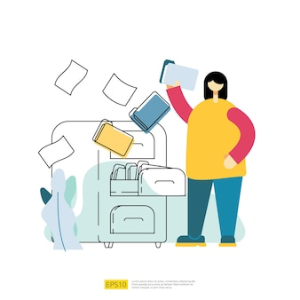File management archive and organize vector illustration with people cartoon character. work with document and file concept in flat style