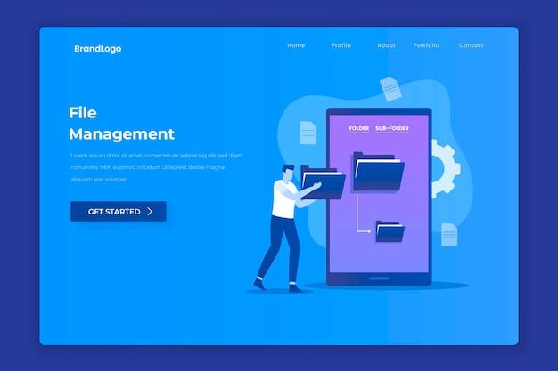 File management illustration concept for websites landing pages