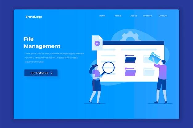 File management landing page illustration concept for websites landing pages