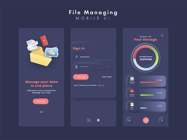 File managing or data manage mobile ui kits
