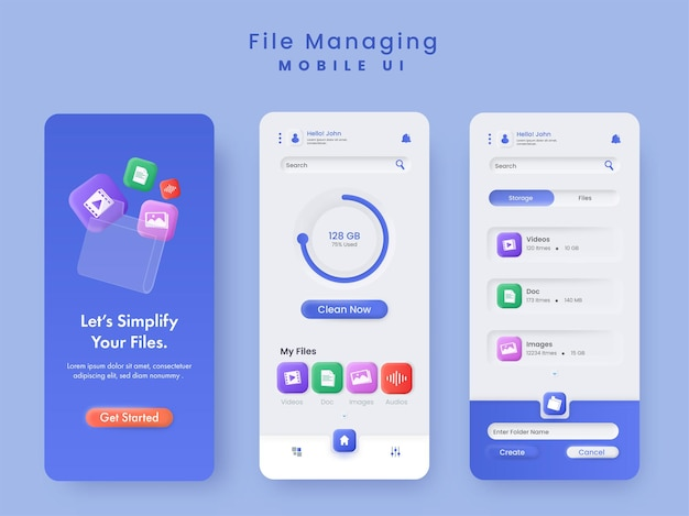 File managing mobile ui splash screens template layout in blue and white color.