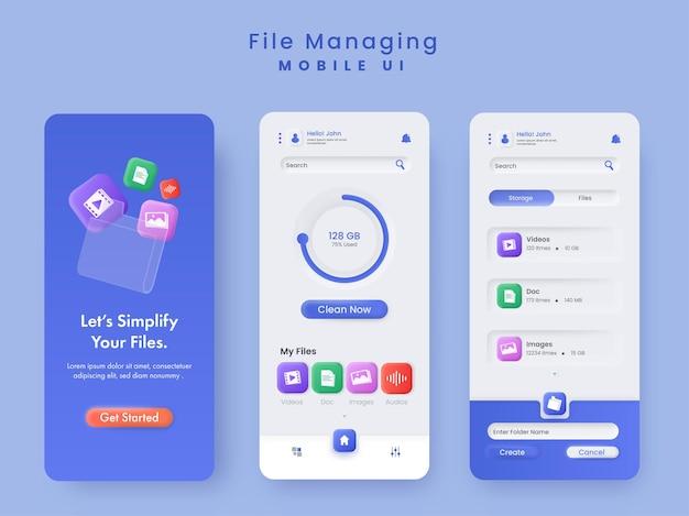 Управление файлами макет шаблона заставки мобильного пользовательского интерфейса в сине-белом цвете.