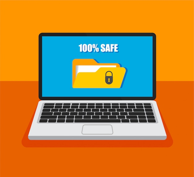 File protection. open laptop with locked folder on a screen