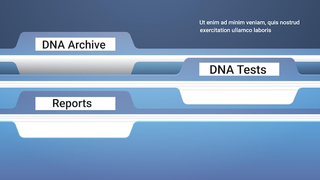 File register folders with genetic dna archive tests and reports clinic medical treatment research and testing