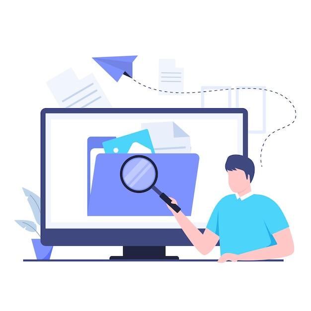 파일 검색 일러스트레이션 디자인 컨셉입니다. 웹사이트, 방문 페이지, 모바일 애플리케이션, 포스터 및 배너용 일러스트레이션