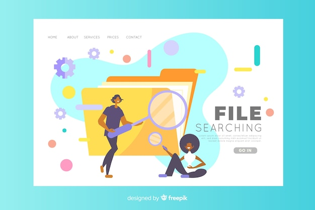 File searching concept for landing page