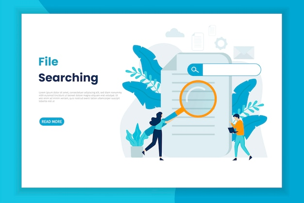 File searching illustration concept landing page