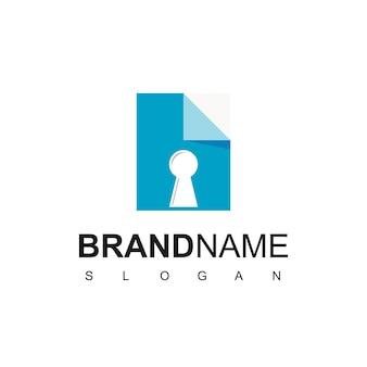 File secure logo design with key hole symbol