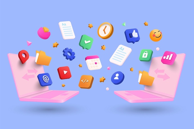 File sharing concept, data sharing service, digital document transfer concept with 3d shapes, folder, cog, icons, infographic on blue background. 3d vector illustration
