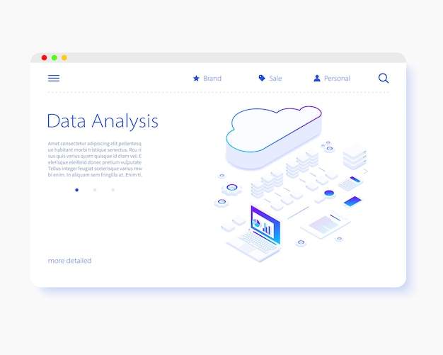 File storage cloud. isometry vector illustration.