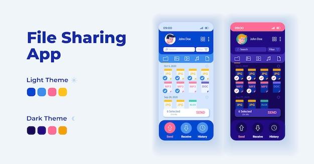 파일 전송 응용 프로그램 만화 스마트폰 인터페이스 벡터 템플릿 집합입니다. 모바일 앱 화면 페이지 데이 및 다크 모드 디자인. 응용 프로그램에 대한 데이터 및 파일 ui를 공유합니다. 평면 문자가 있는 전화 디스플레이