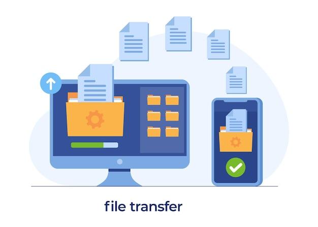 파일 전송 개념, 백업 데이터, 스토리지에 문서 저장, 기술 클라우드, 업로드 및 다운로드, 평면 그림 벡터 템플릿