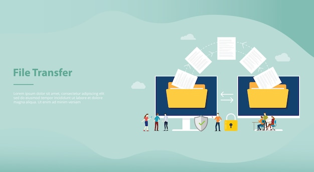 File transfer concept with folder and files transfering move with team people for website or landing homepage template design