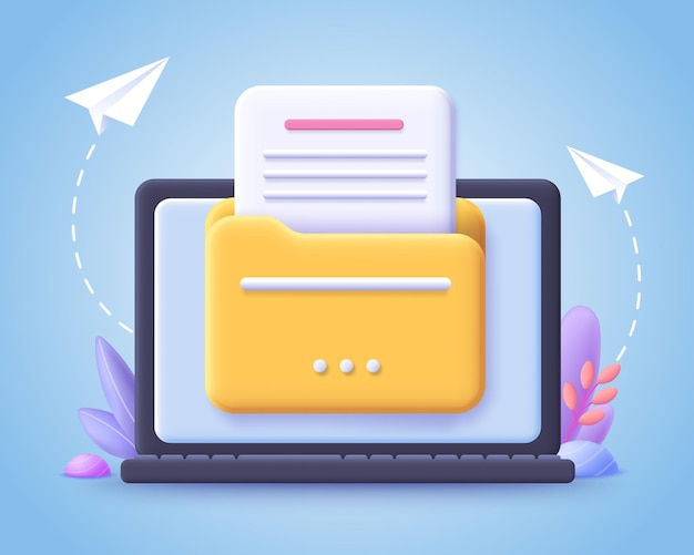 파일 전송 개념. 컴퓨터 모니터에 문서가있는 노란색 폴더. 3d 그림.