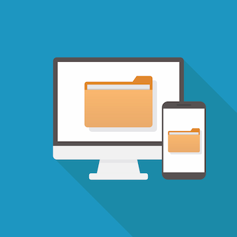 File transfer, flat design vector illustration