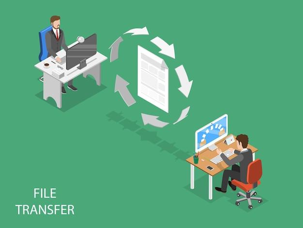 File transfer flat isometric concept.