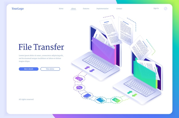 File transfer isometric landing page digital data migration between computers transmission service for private information exchange gadgets connected in computing network system