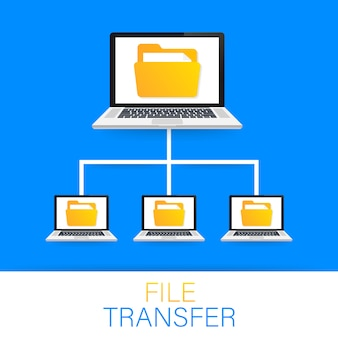 File transfer. laptops with folders on screen and transferred documents.