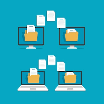 File transferexchanging files copying files between devicesflat design icon vector illustration