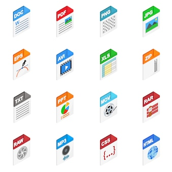 File types icons in isometric 3d style isolated on white