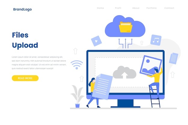 File upload landing page template