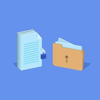 南京錠と鍵穴、データ暗号化、データセキュリティの概念を備えたファイルとフォルダ。