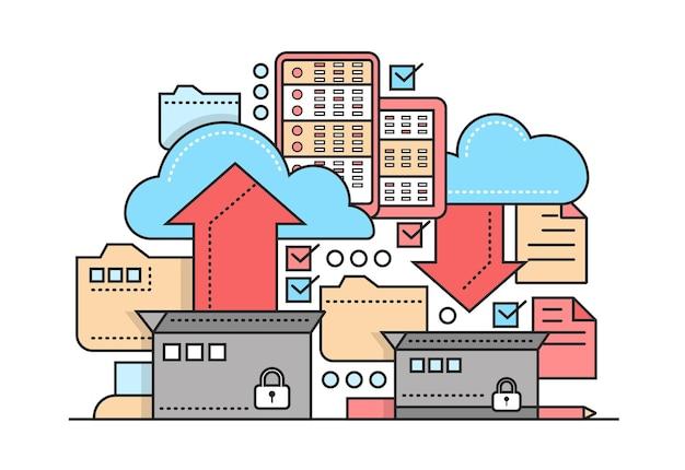 파일 보관, 백업 - 보관 프로세스, 상자, 구름, 화살표가 있는 벡터 현대 플랫 라인 디자인 일러스트레이션