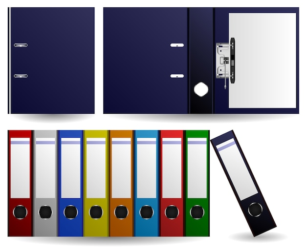 Files and folders ring binder. set of multiple color of files and folders. opened and closed folder.