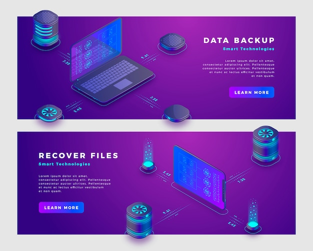Files recover and data backup concept banner template.