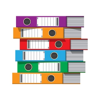 Files, ring binders, colorful office folders.