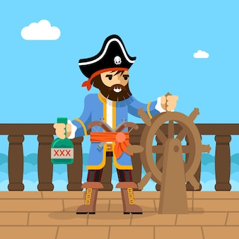 Флибустьер. капитан пиратского корабля стоит на палубе у штурвала с бутылкой рома.