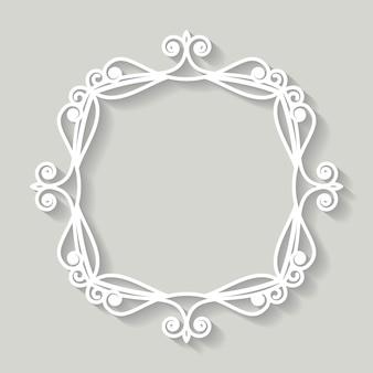 Filigree frame paper cut out. baroque vintage design.