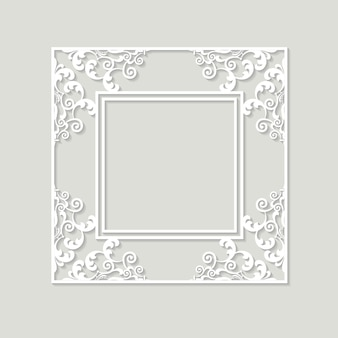 Filigree frame paper cut out. baroque vintage design.