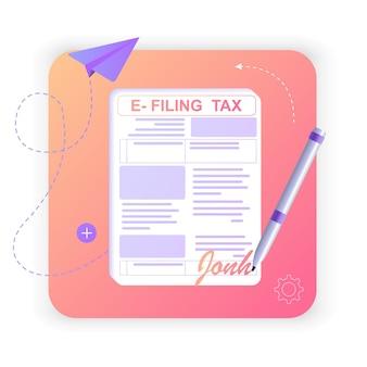 Eform 세금 고지서 앱을 통한 온라인 양식 디지털 세금 보고를 통한 소득세 신고 및 납부