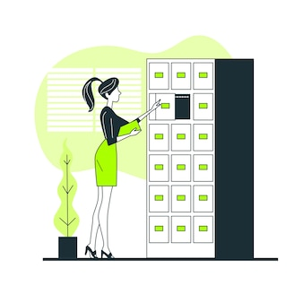 Illustrazione di concetto del sistema di archiviazione