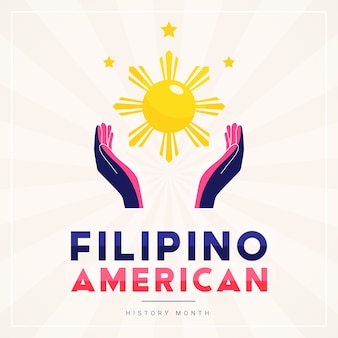 Filipino american history month square banner template with hands illuminated by the sun and stars as the symbol of the contributions of filipino americans to world culture.