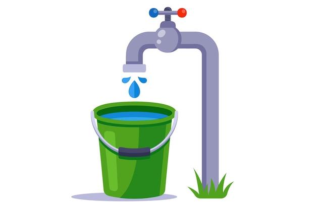 녹색 양동이에 물을 채 웁니다. 깨끗한 수돗물.