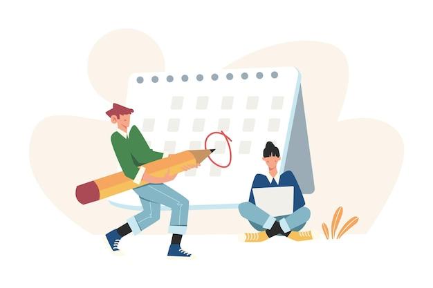 달력 표에 중요한 날짜와 작업을 표시하십시오.