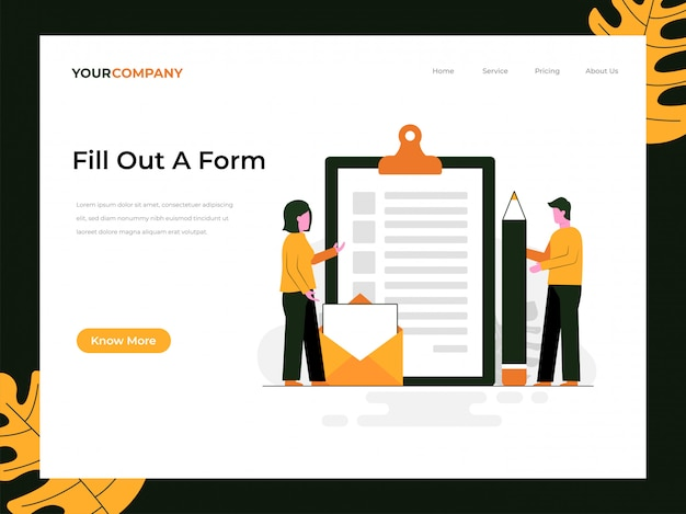 Fill out a form landing page