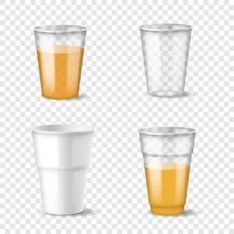 充填済みおよび空の使い捨てプラスチックカップセット。冷たい、熱い飲み物のテンプレートのための現実的なコンテナ
