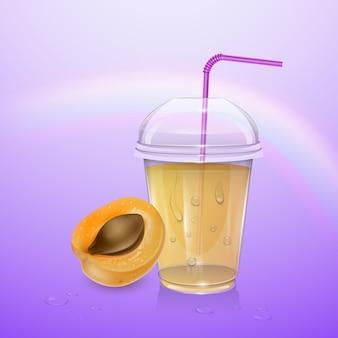 뚜껑과 밀짚 주황색 살구 신선한 음료로 채워진 처분 할 수있는 플라스틱 컵