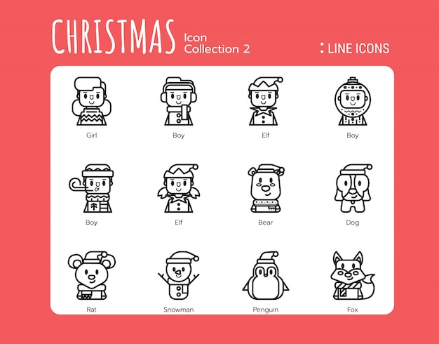 Filled line icons style. christmas avatar
