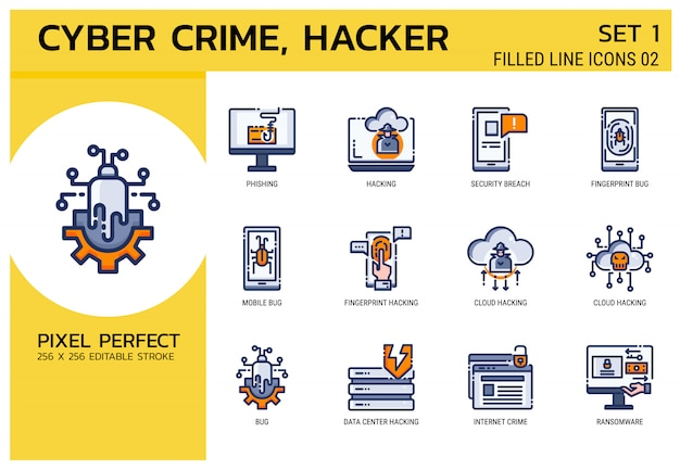 Filled line icons style. hacker cyber crime attack