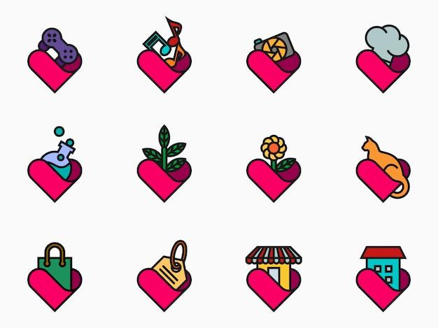 Filled outline lover icon set