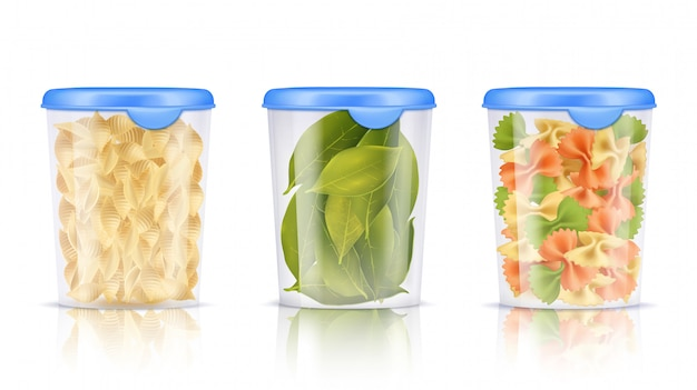 Filled plastic food containers icon set